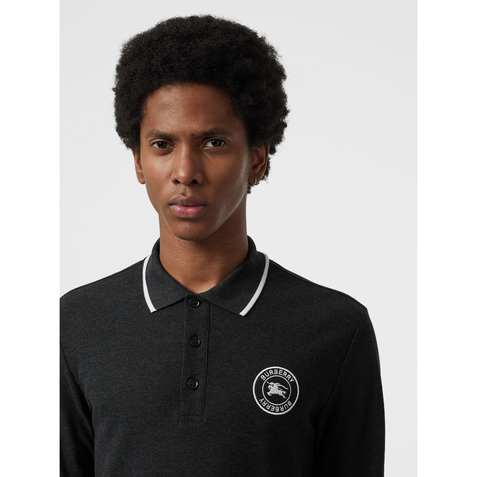 Long-sleeve Embroidered Logo Cotton Polo Shirt in Dark Grey Melange - Men | Burberry Canada - gallery image 1