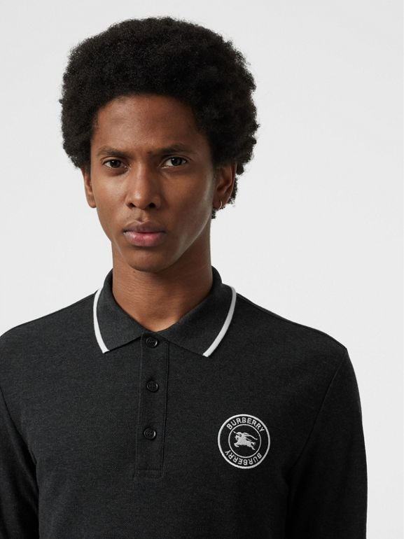 Long-sleeve Embroidered Logo Cotton Polo Shirt in Dark Grey Melange - Men | Burberry Canada - cell image 1
