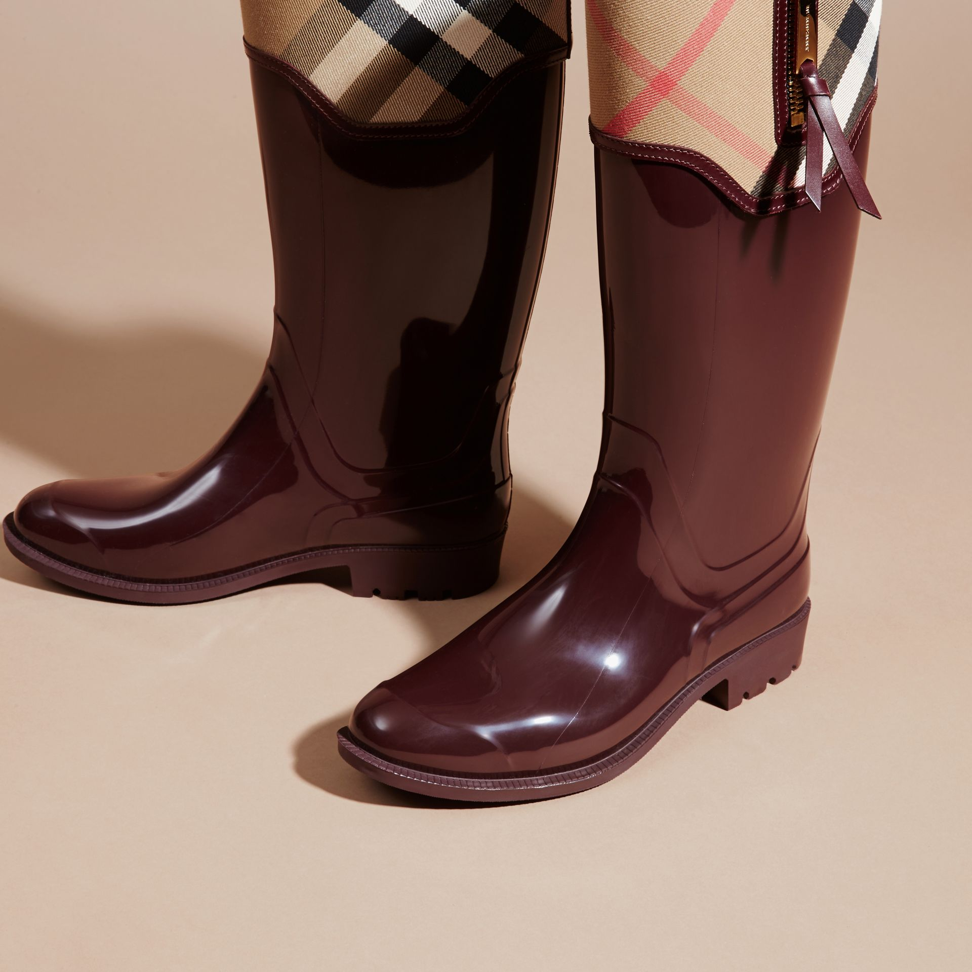 Leather and House Check Rain Boots - gallery image 3