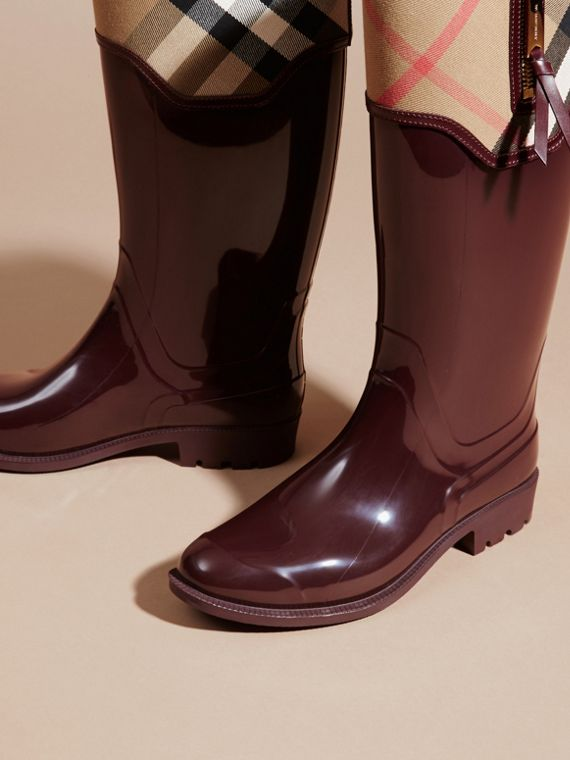 Oxblood Leather and House Check Rain Boots - cell image 2