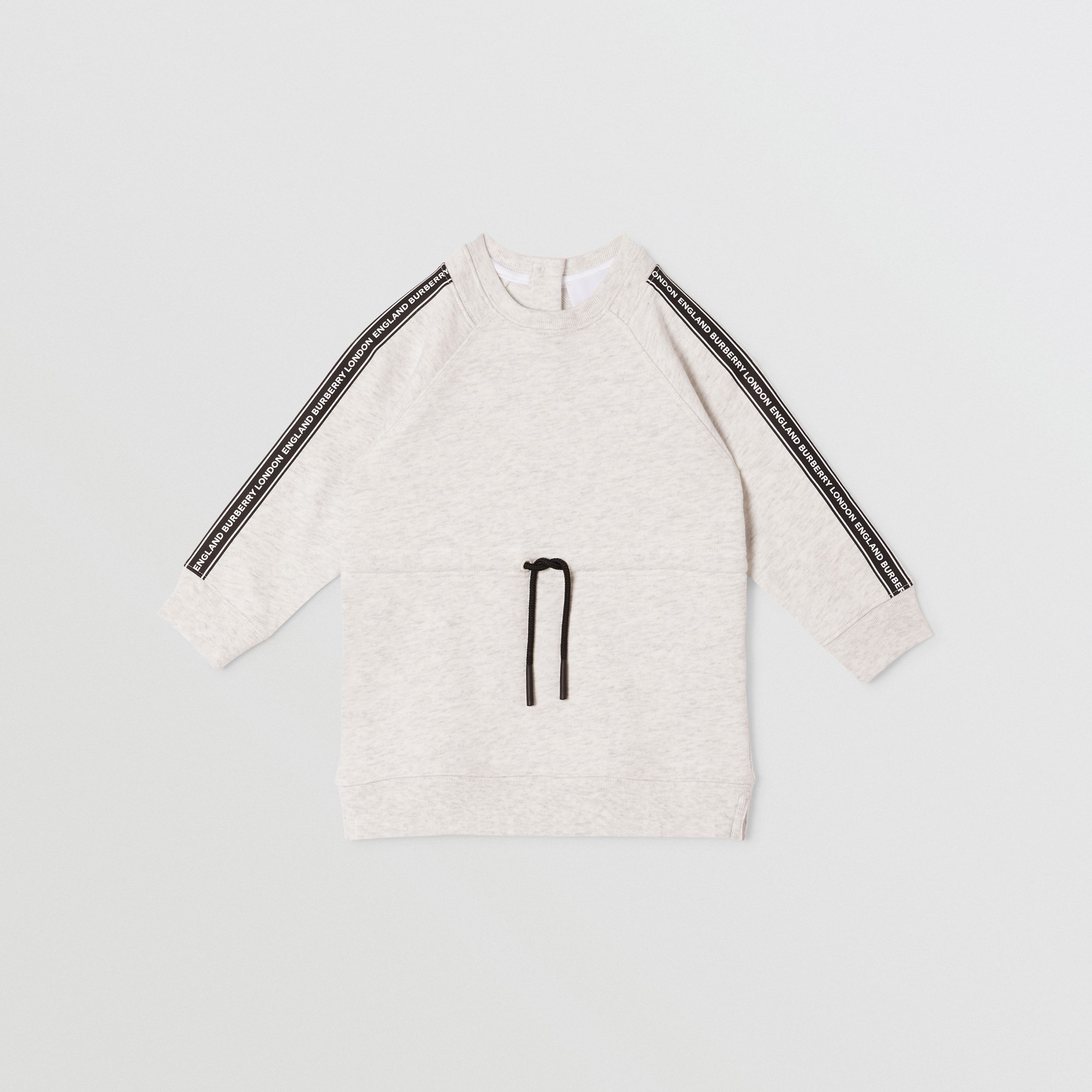 Logo Tape Cotton Sweater Dress in White Melange - Children | Burberry United States - 1