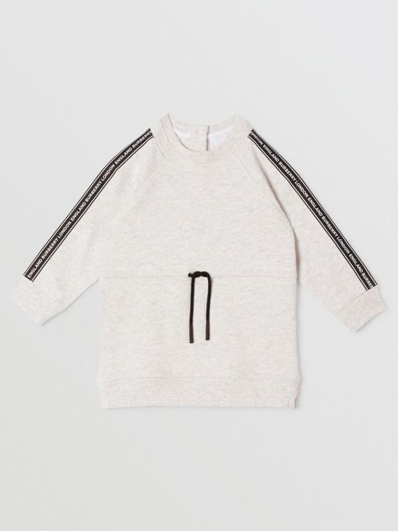 Logo Tape Cotton Sweater Dress in White Melange