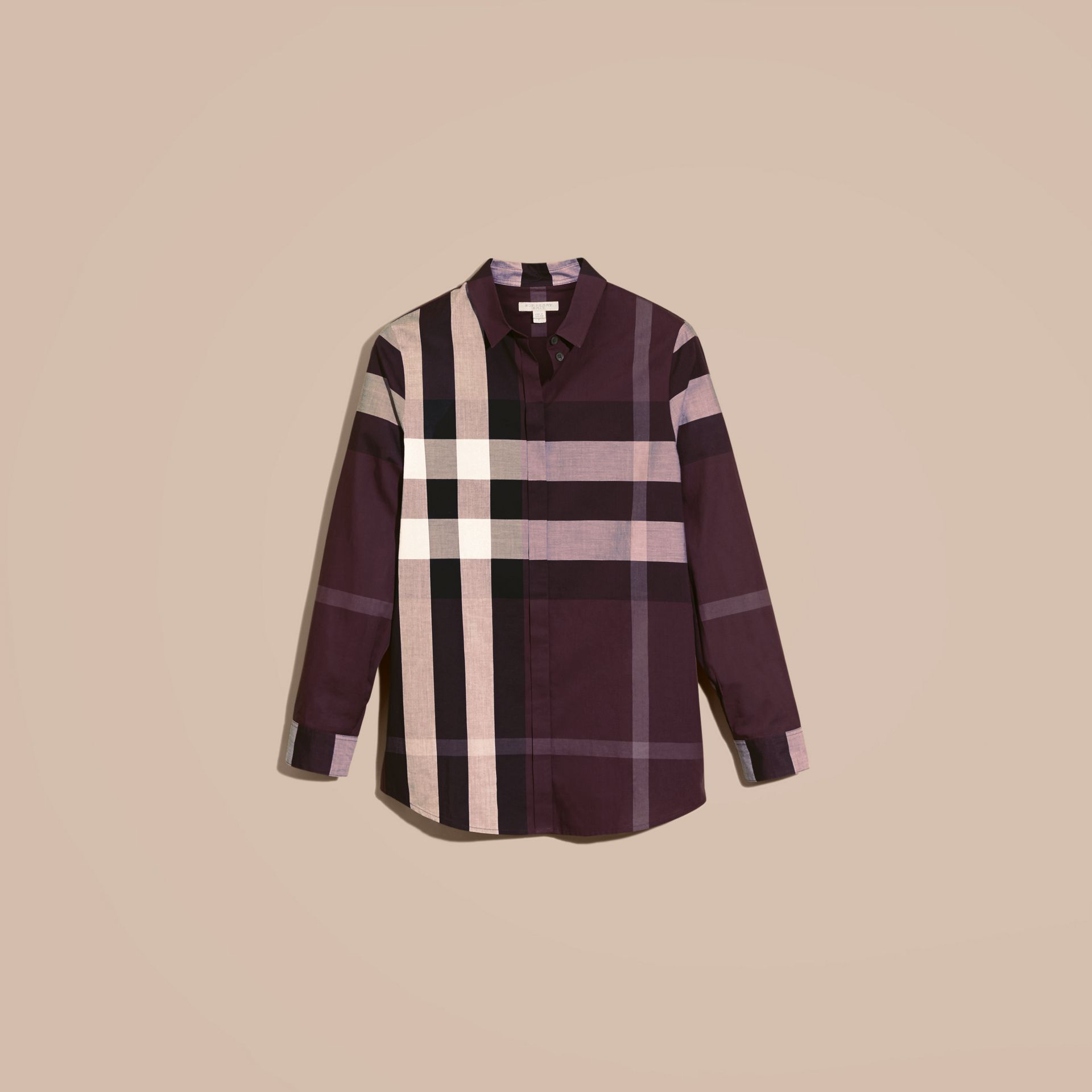 Dark violet Check Cotton Shirt Dark Violet - gallery image 4