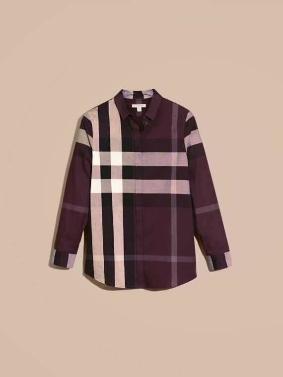 Dark violet Check Cotton Shirt Dark Violet - cell image 3