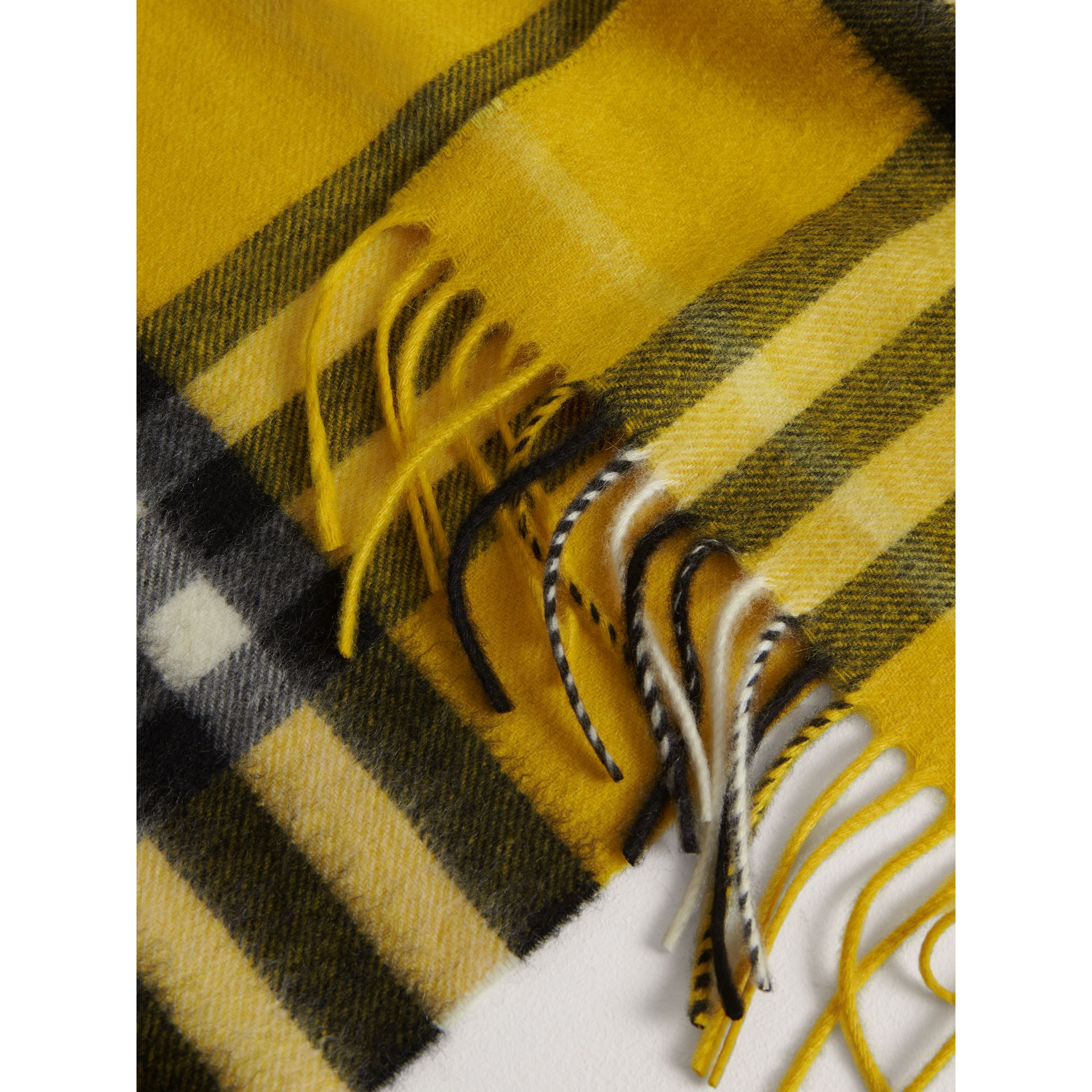 The Mini Classic Check Cashmere Scarf in Gorse Yellow | Burberry United Kingdom - gallery image 1