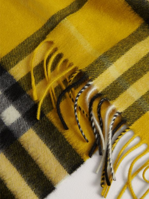 The Mini Classic Check Cashmere Scarf in Gorse Yellow | Burberry United Kingdom - cell image 1