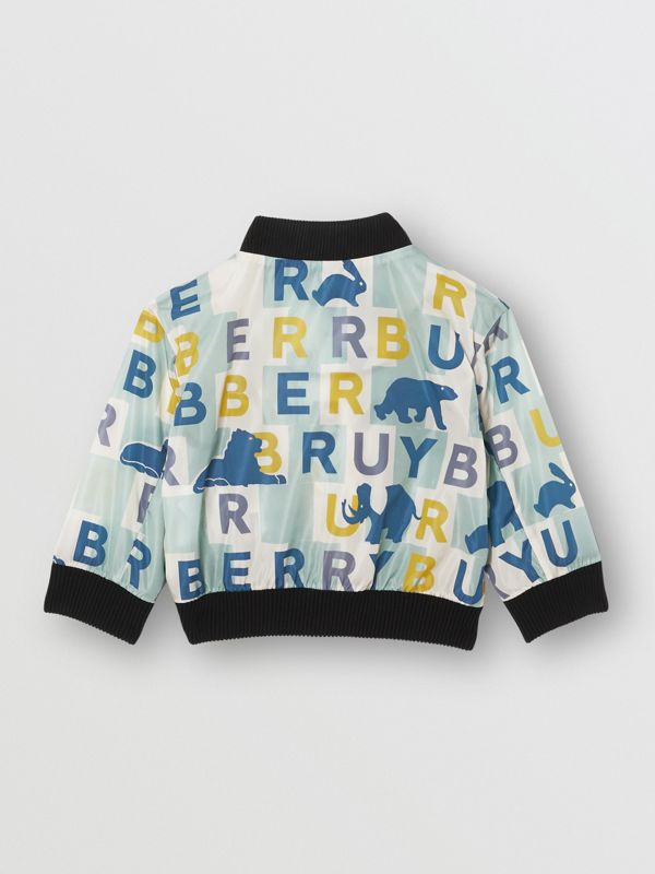 Logo Print Nylon Bomber Jacket in Pale Mint - Children | Burberry - cell image 3