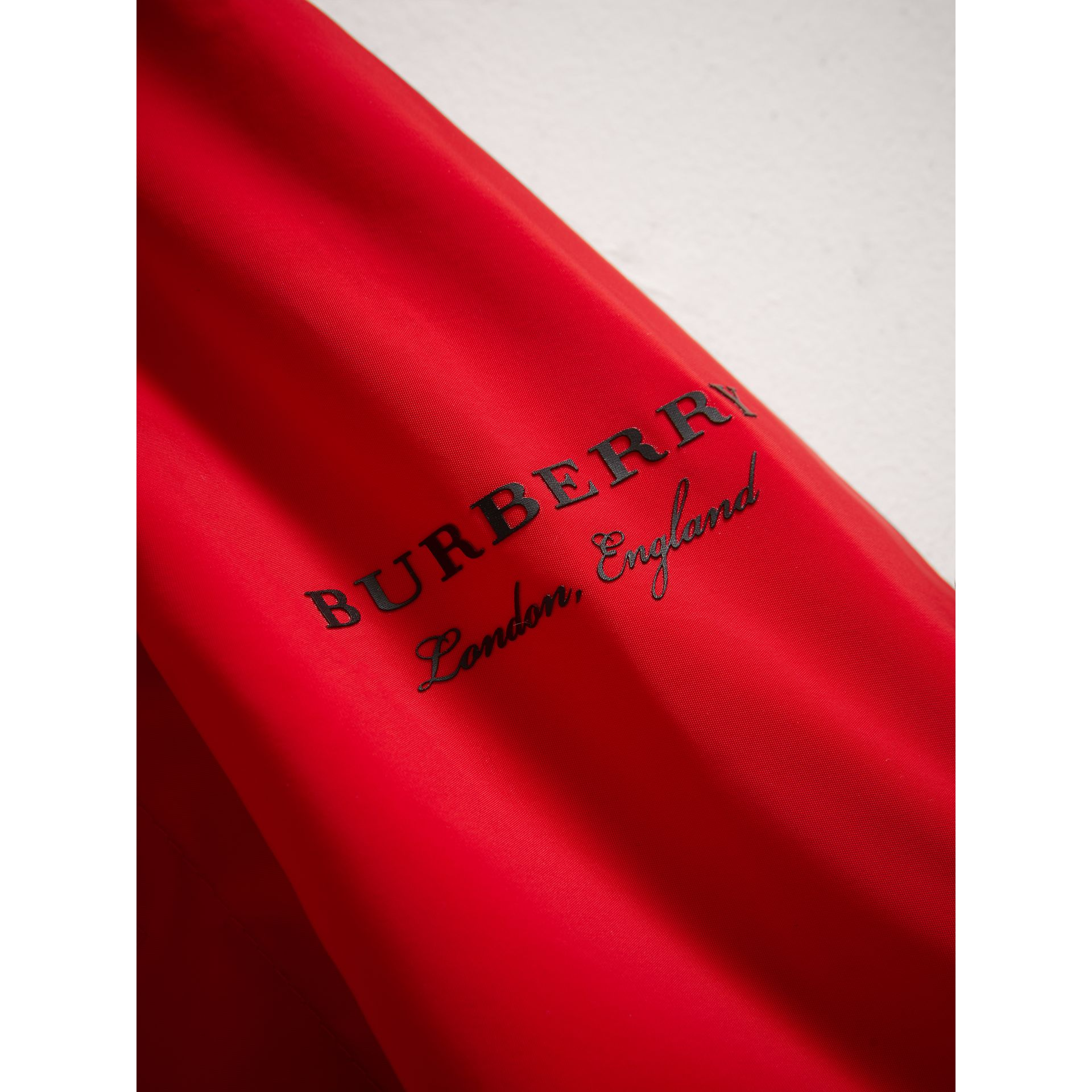 Shape Memory Taffeta Hooded Jacket in Bright Orange Red | Burberry United Kingdom - gallery image 1