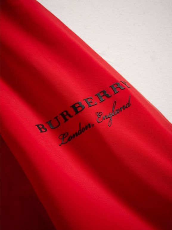 Shape Memory Taffeta Hooded Jacket in Bright Orange Red | Burberry - cell image 1