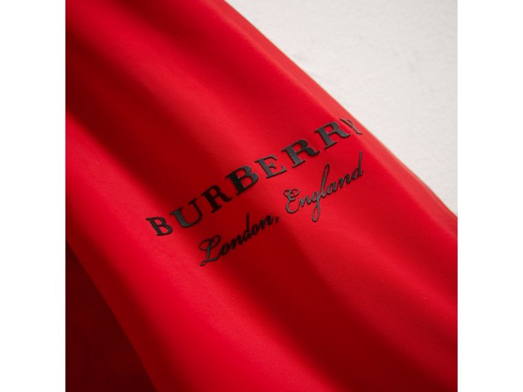 Shape Memory Taffeta Hooded Jacket in Bright Orange Red | Burberry United Kingdom - cell image 1