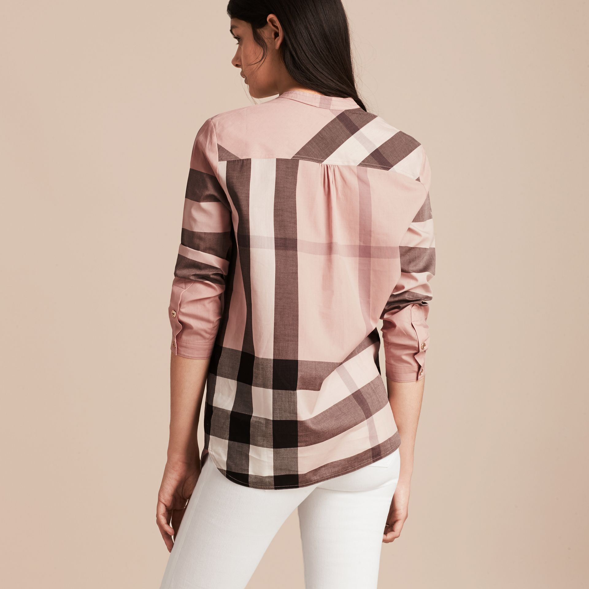 Check Grandad Collar Shirt in Antique Pink - Women | Burberry Singapore - gallery image 3