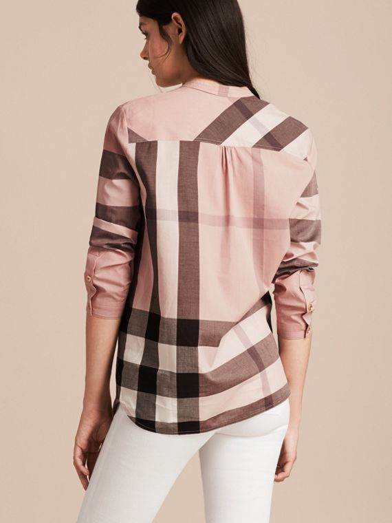 Check Grandad Collar Shirt in Antique Pink - Women | Burberry - cell image 2