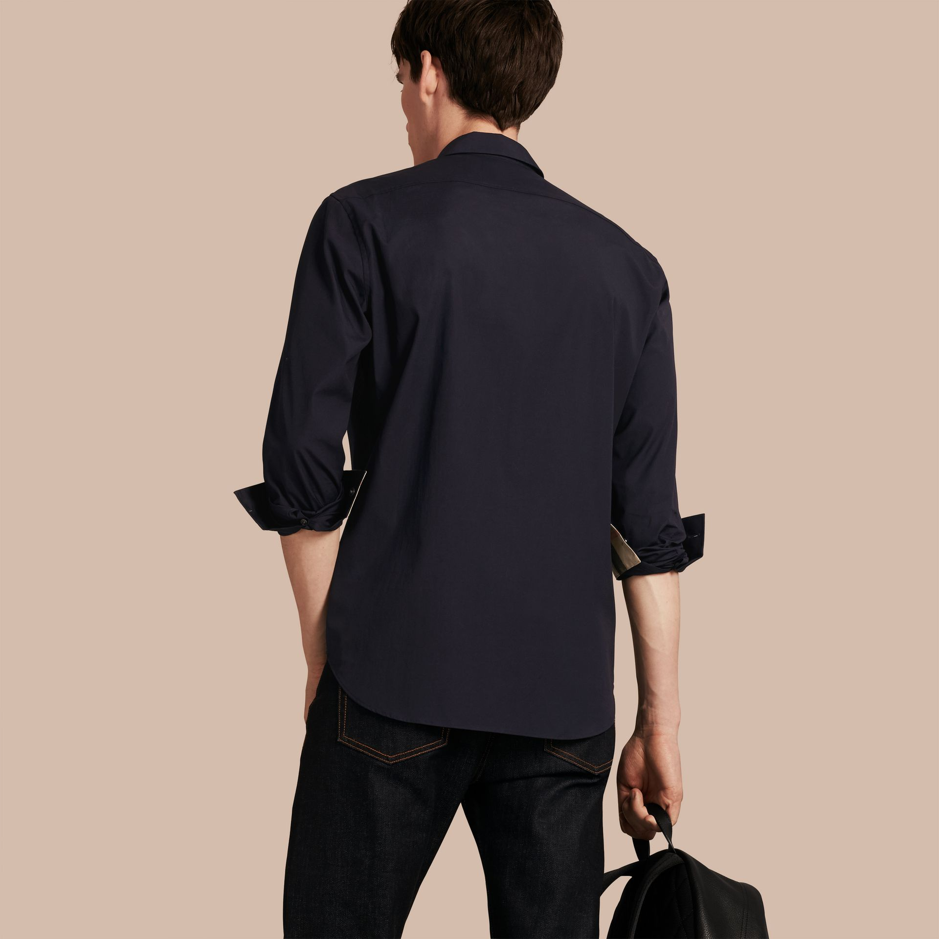 Check Detail Stretch Cotton Poplin Shirt in Navy - Men | Burberry Singapore - gallery image 2