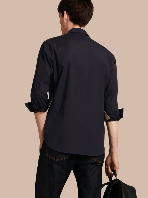 Check Detail Stretch Cotton Poplin Shirt Navy
