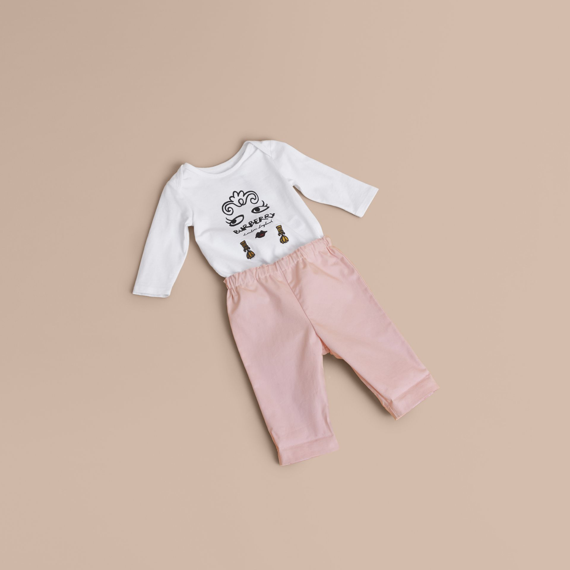 Check Turn-Up Cotton Trousers in Light Pink | Burberry - gallery image 1