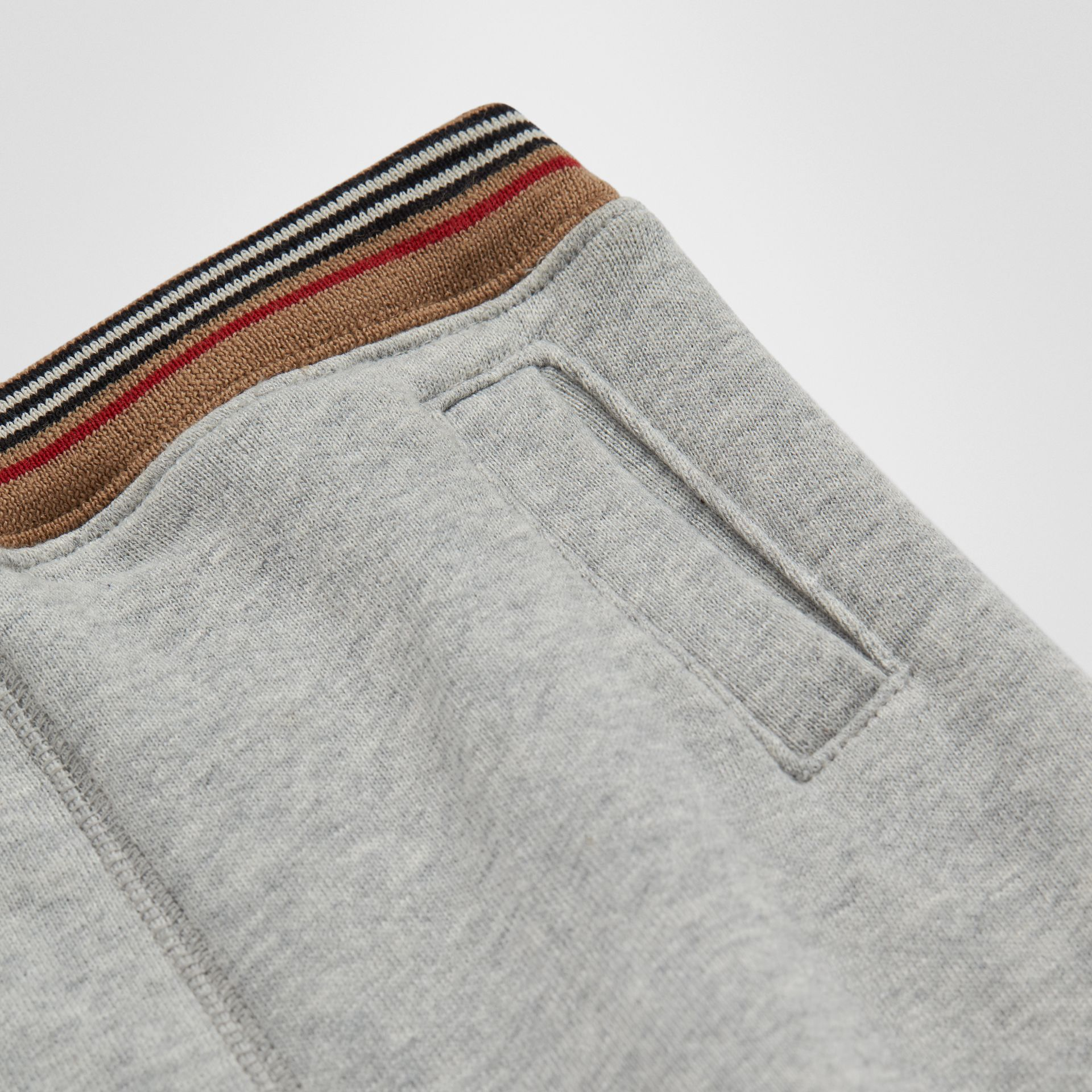 Icon Stripe Cotton Jersey Sweatpants in Grey Melange - Children | Burberry Australia - gallery image 1