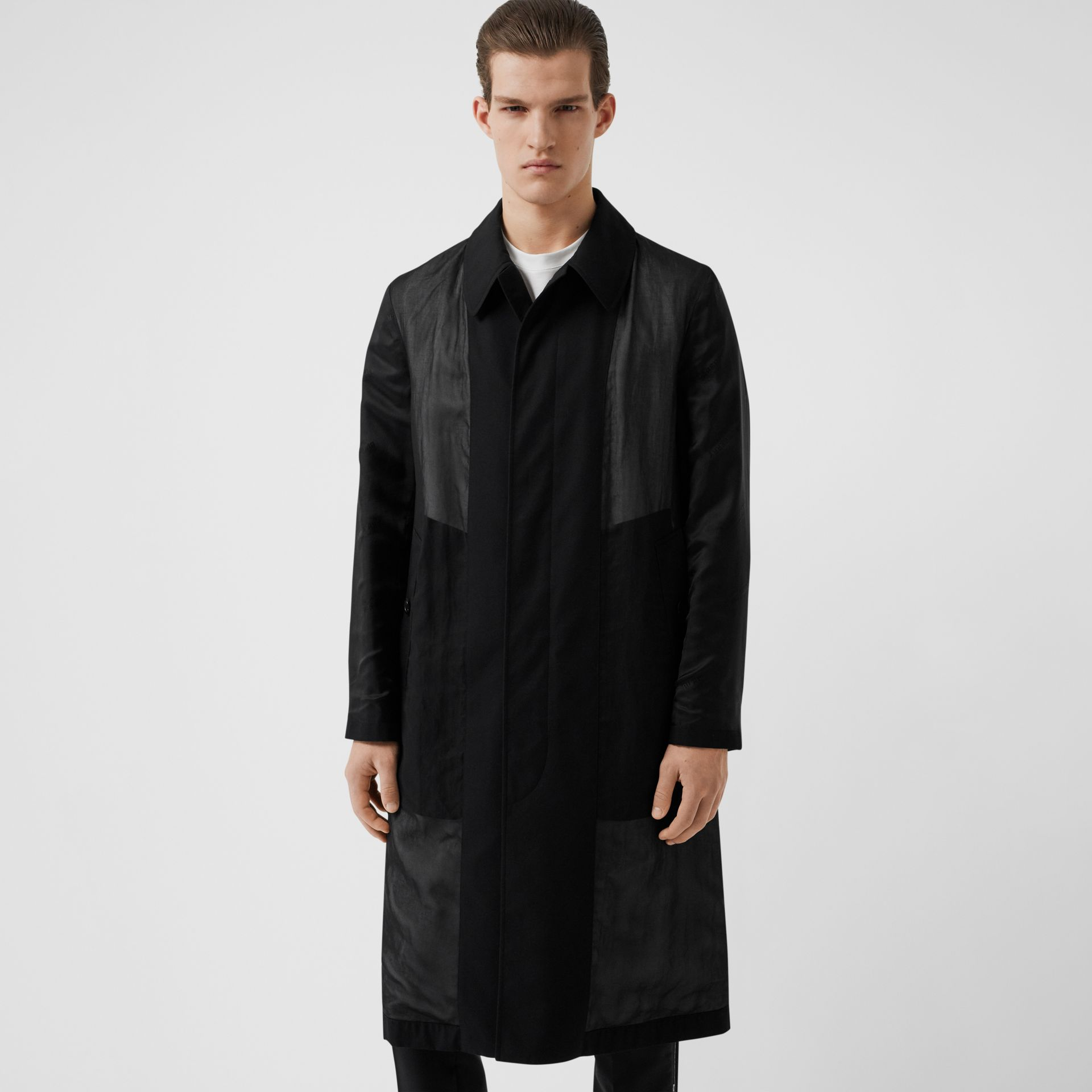 Logo Detail Panelled Cotton Gabardine Car Coat in Black - Men | Burberry - gallery image 5