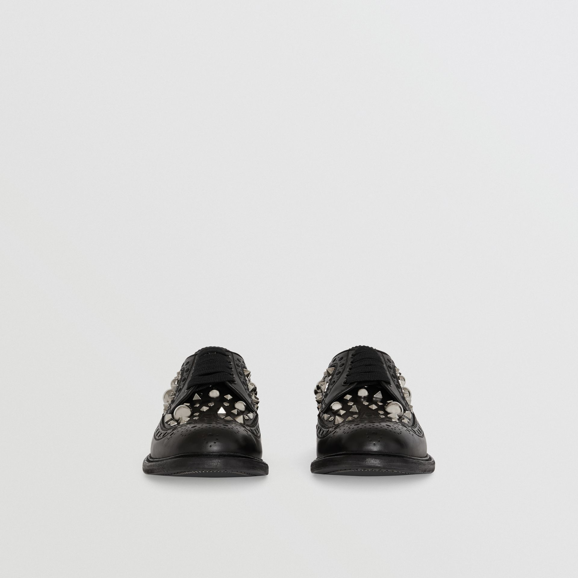 Stud Detail Leather Brogues in Black - Men | Burberry - gallery image 3