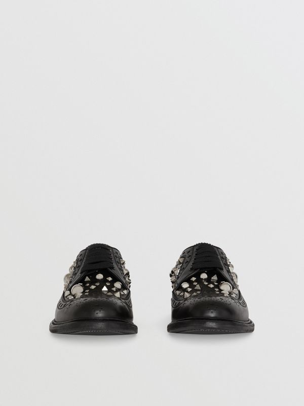 Stud Detail Leather Brogues in Black - Men | Burberry Canada - cell image 3
