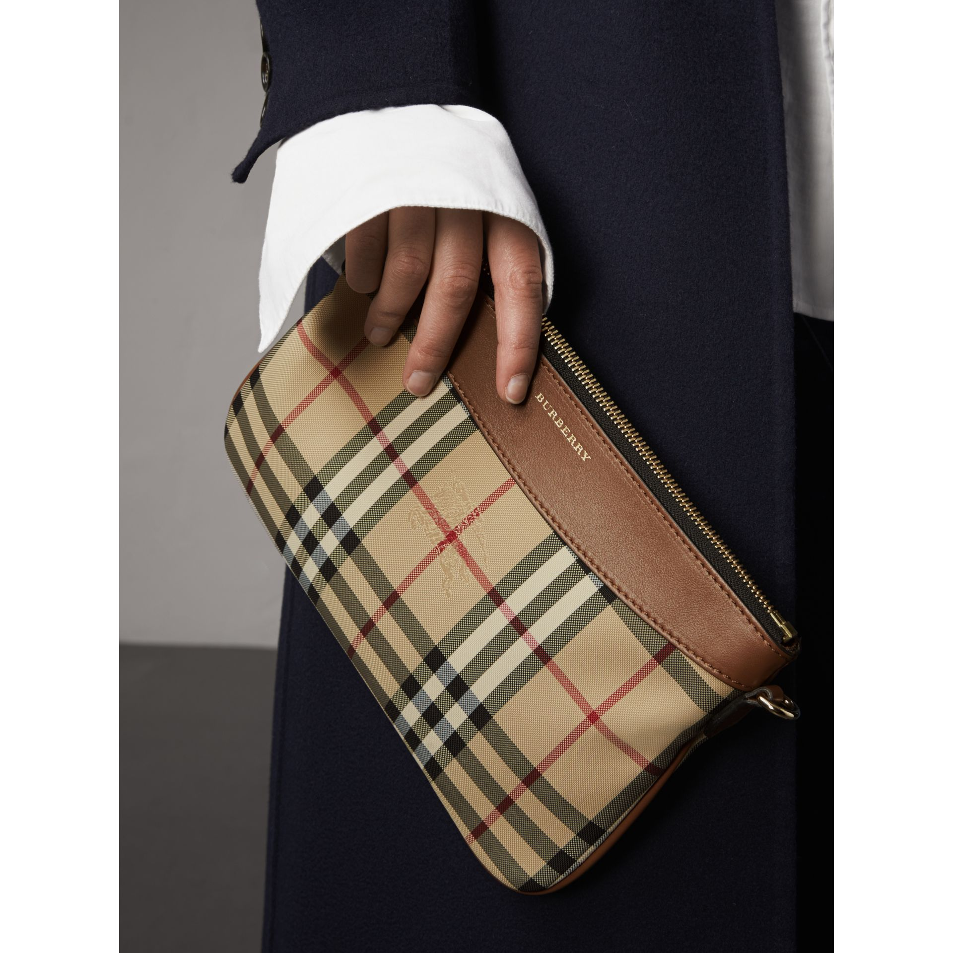 Horseferry Check and Leather Clutch Bag in Tan - Women | Burberry Singapore - gallery image 4