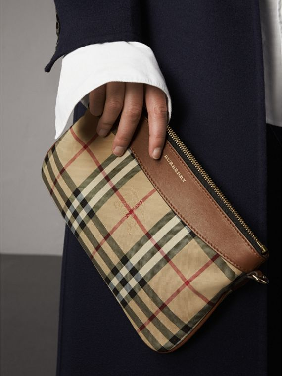 Horseferry Check and Leather Clutch Bag in Tan - Women | Burberry - cell image 3