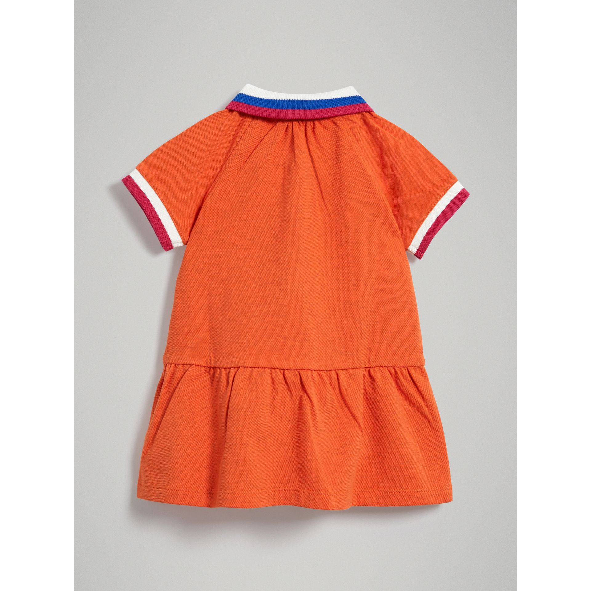 Stretch Cotton Polo Dress in Bright Clementine Melange - Children | Burberry - gallery image 3