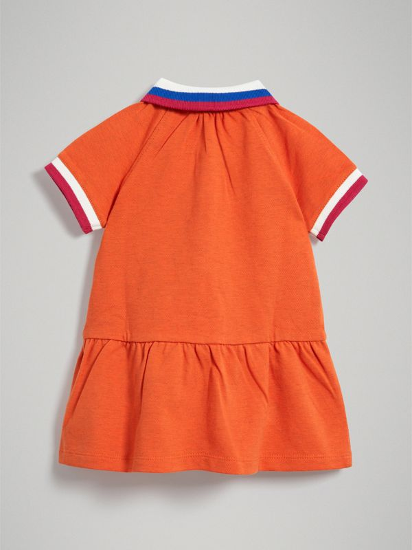 Stretch Cotton Polo Dress in Bright Clementine Melange - Children | Burberry - cell image 3