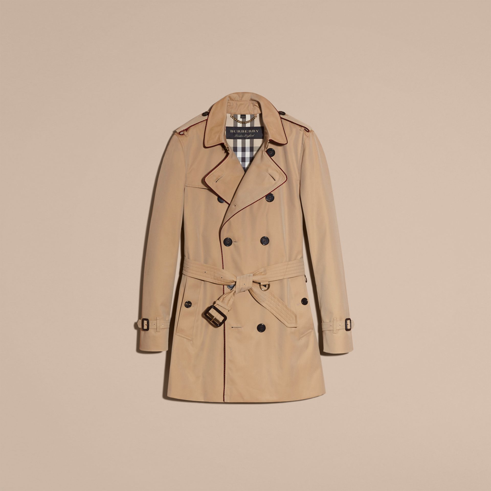 Honey Trench Coat with Regimental Piping Honey - gallery image 4