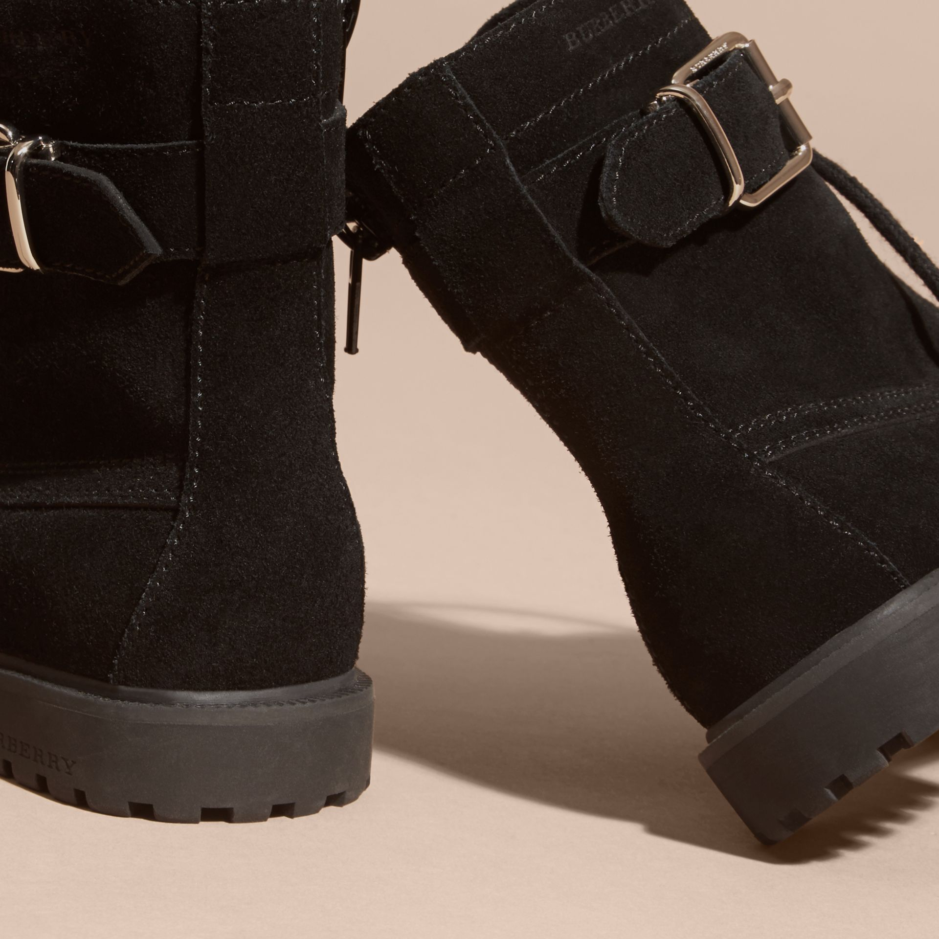 Black Suede Lace-up Boots - gallery image 4