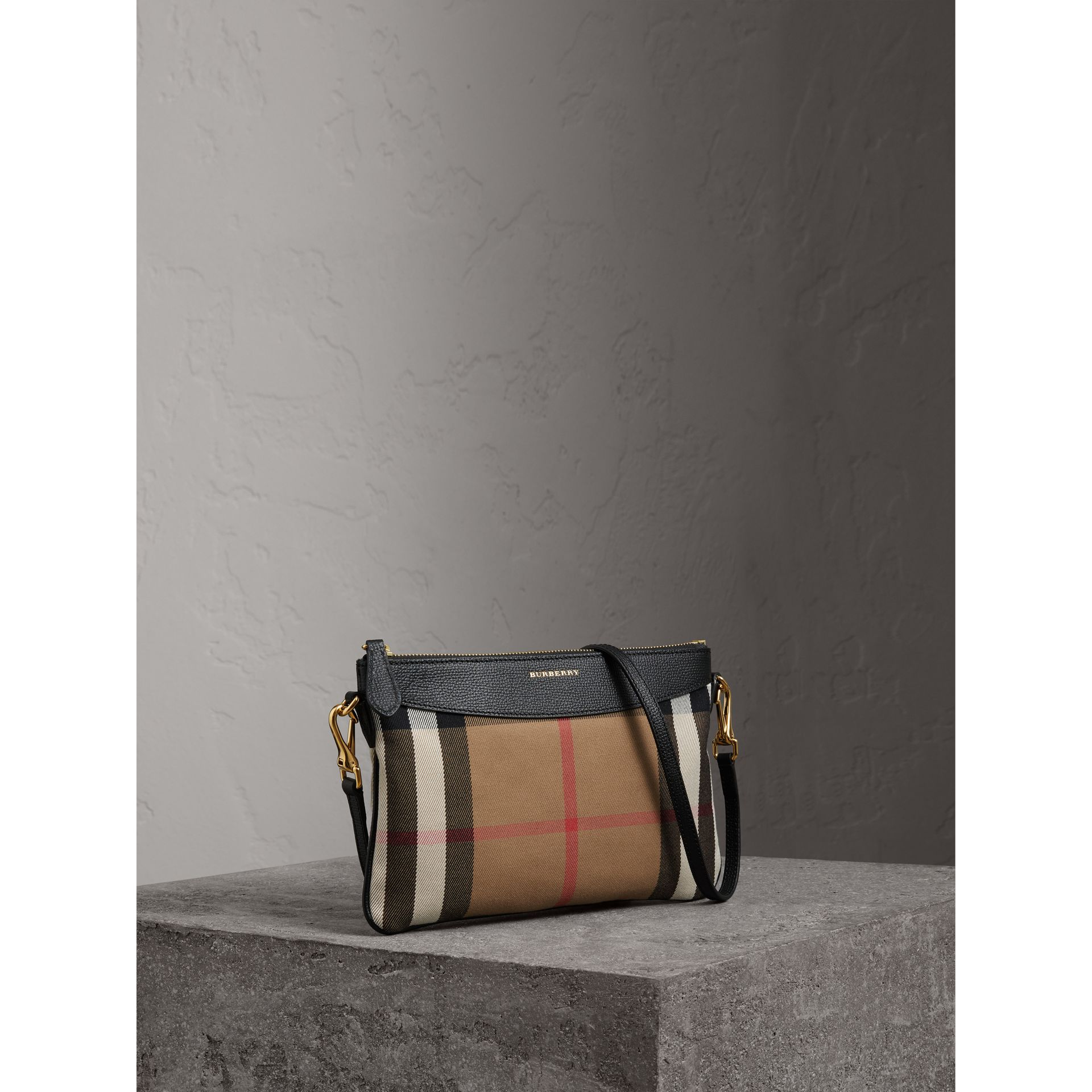 House Check and Leather Clutch Bag in Black - Women | Burberry Singapore - gallery image 6