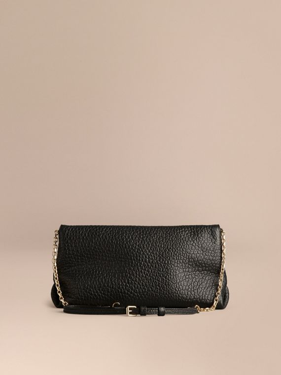 Black Medium Signature Grain Leather Clutch Bag - cell image 3