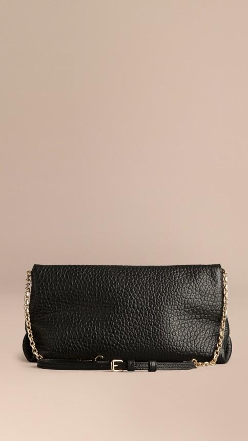 Black Medium Signature Grain Leather Clutch Bag Black - Image 4