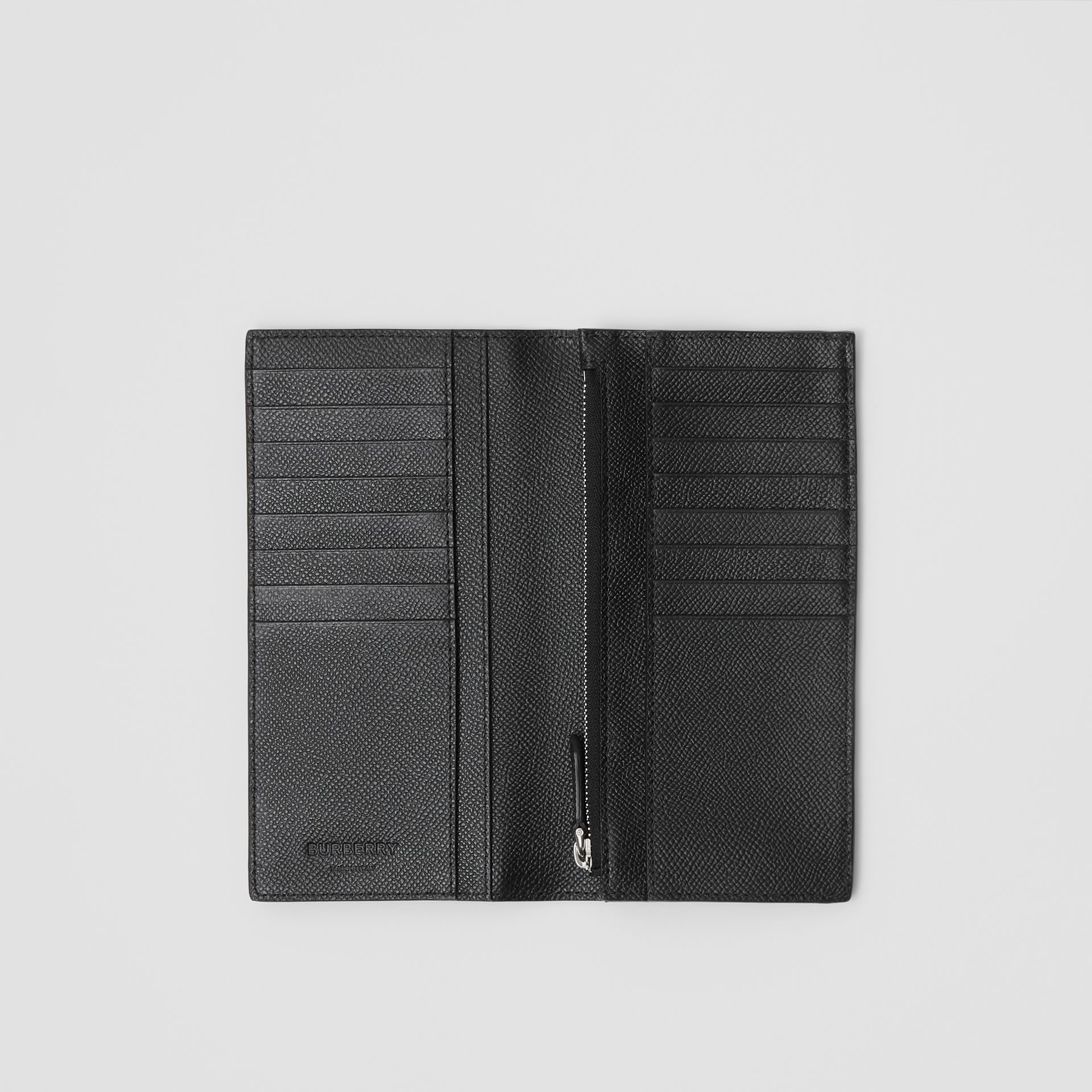 Grainy Leather Continental Wallet in Black - Men | Burberry United States - gallery image 2