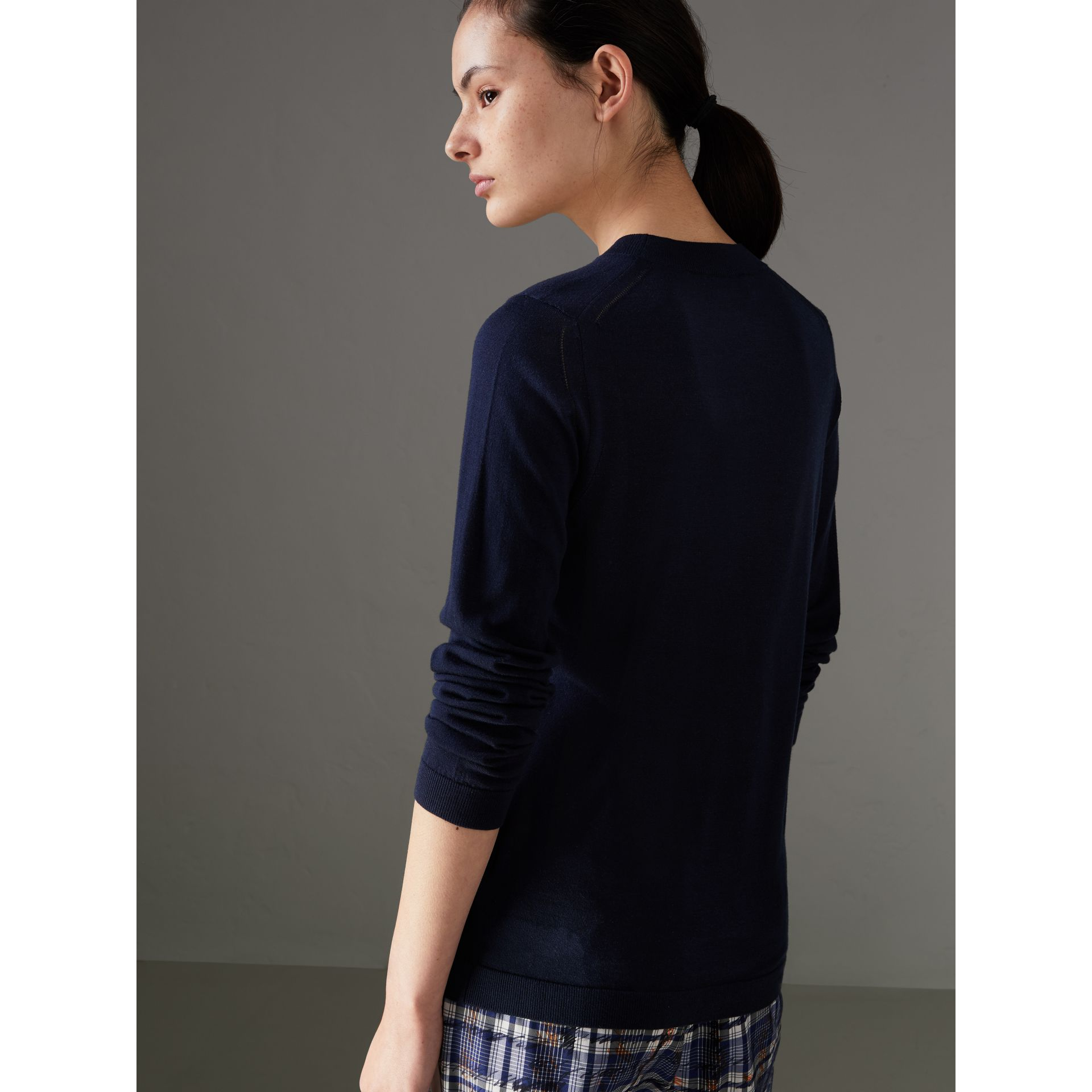 Silk Cashmere Sweater in Navy - Women | Burberry - gallery image 2