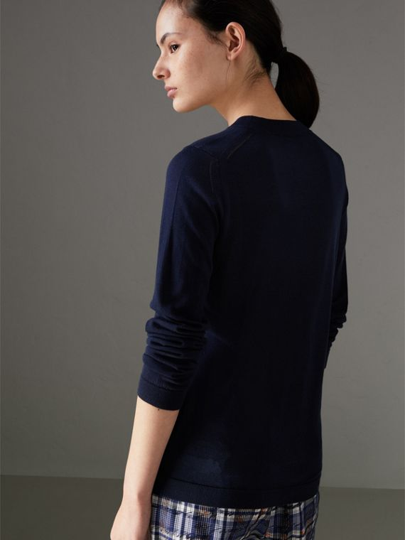 Silk Cashmere Sweater in Navy - Women | Burberry Singapore - cell image 2