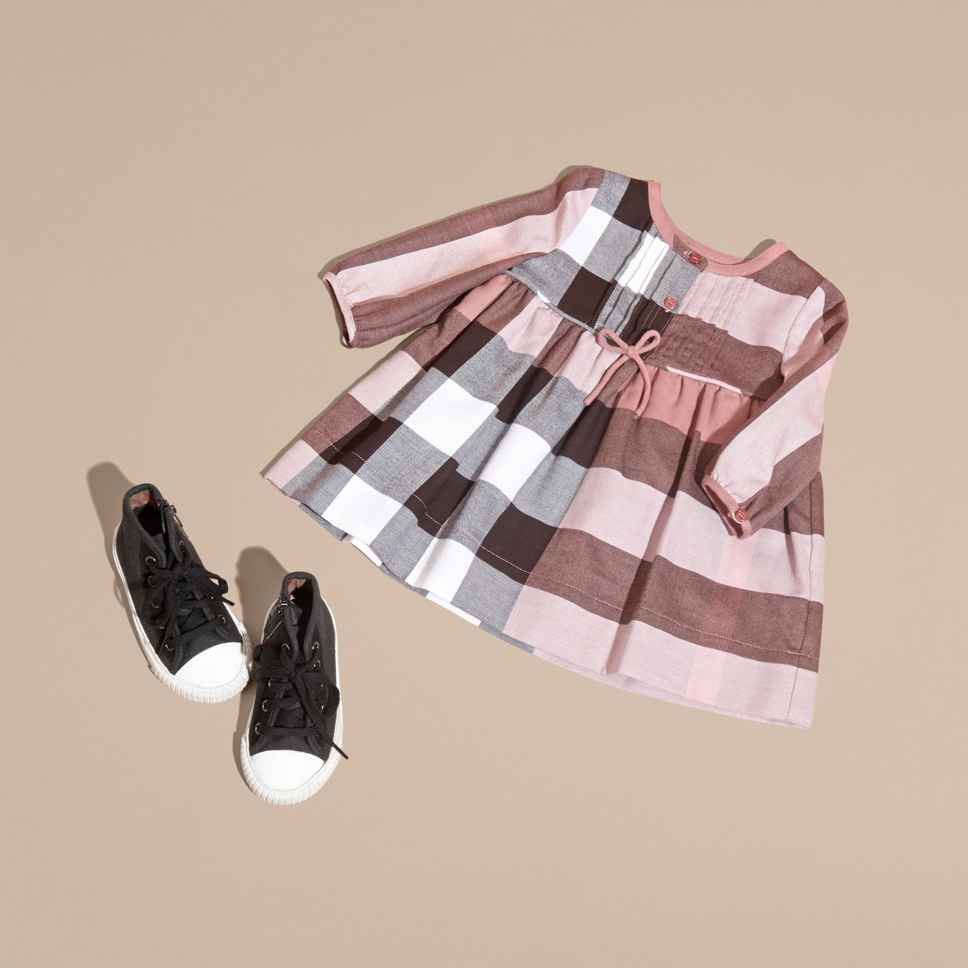 Antique rose Check Cotton Flannel Dress with Bow Detail Antique Rose - gallery image 5