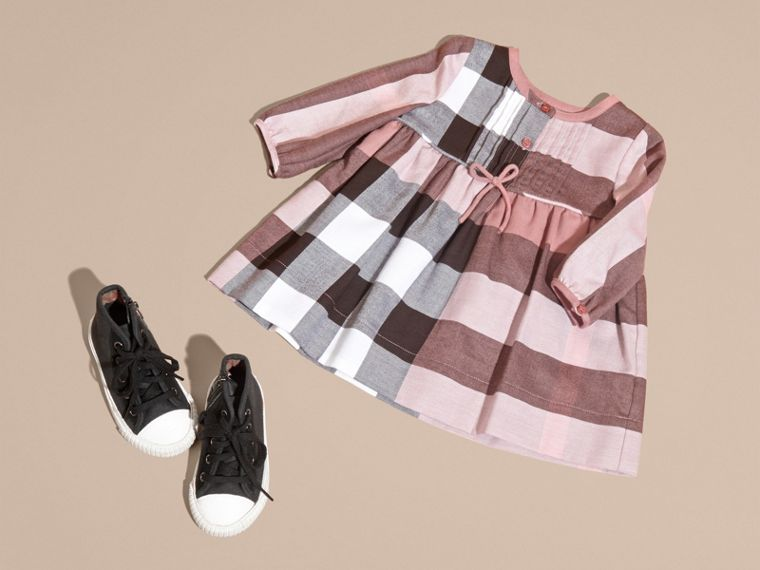 Antique rose Check Cotton Flannel Dress with Bow Detail Antique Rose - cell image 4