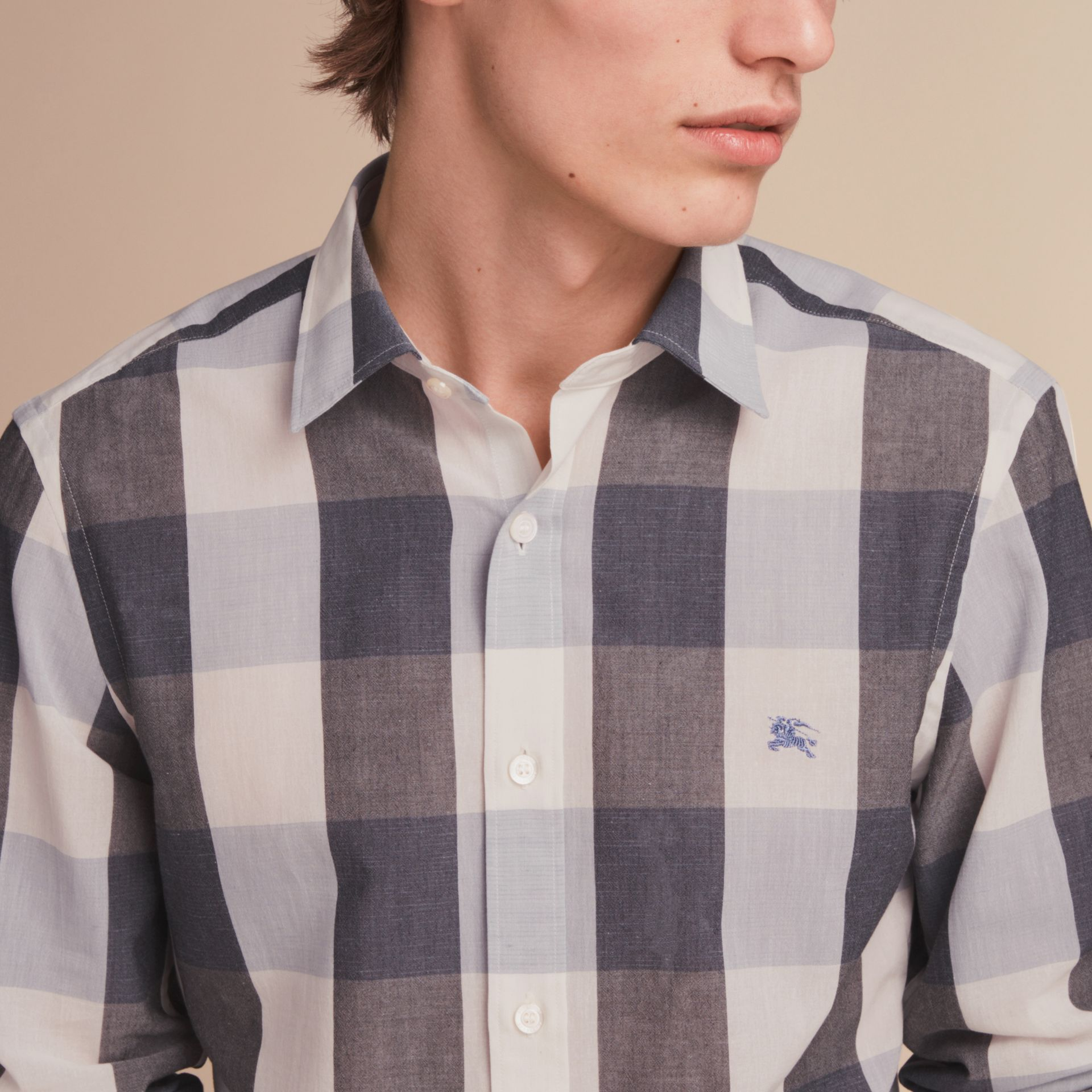 Oversize Gingham Cotton Linen Shirt in Pale Cornflower Blue - gallery image 5