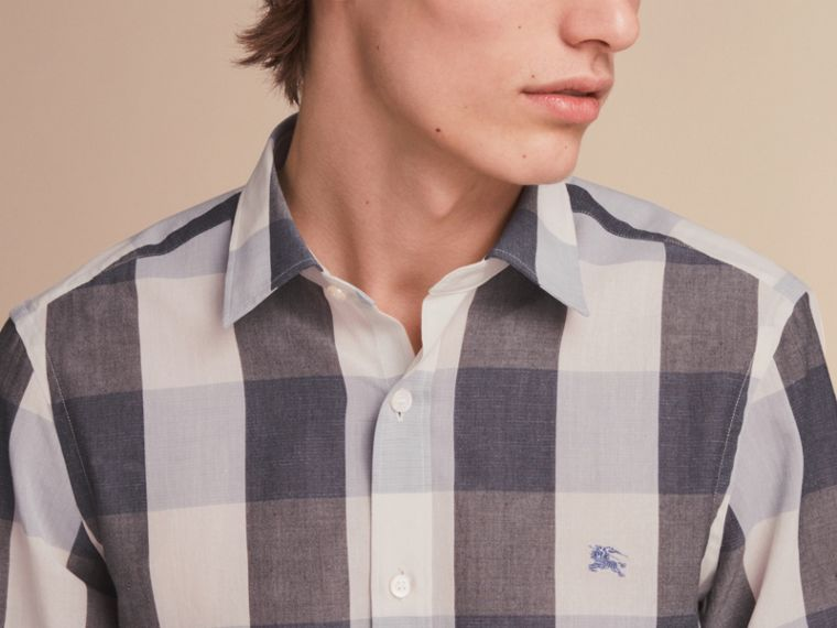 Oversize Gingham Cotton Linen Shirt in Pale Cornflower Blue - cell image 4
