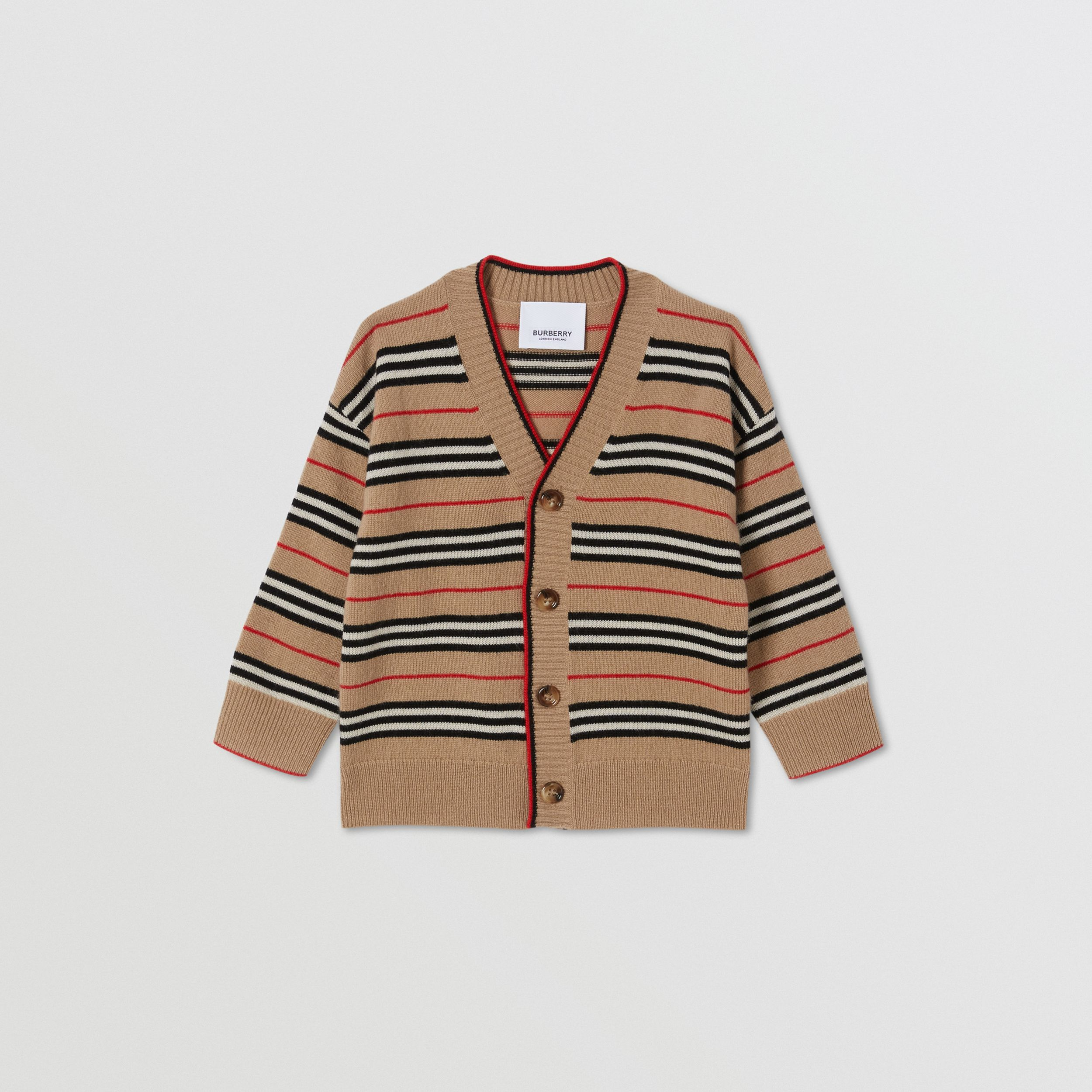 Icon Stripe Wool Cashmere Cardigan in Archive Beige - Children | Burberry - 1