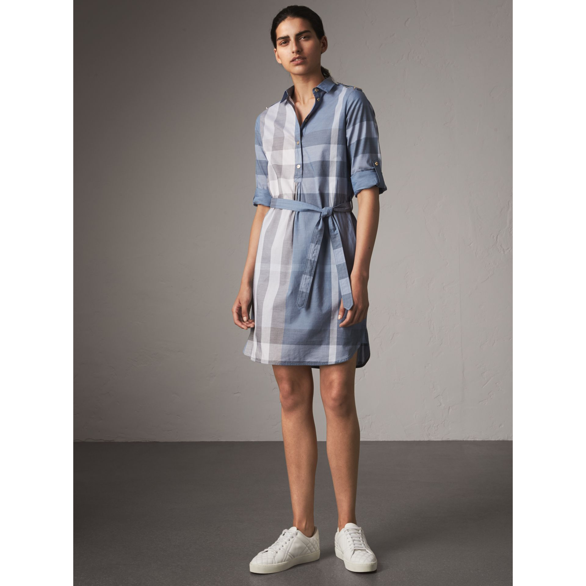 Tie-waist Check Cotton Shirt Dress in Canvas Blue - Women | Burberry - gallery image 1