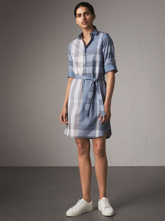 Tie-waist Check Cotton Shirt Dress in Canvas Blue