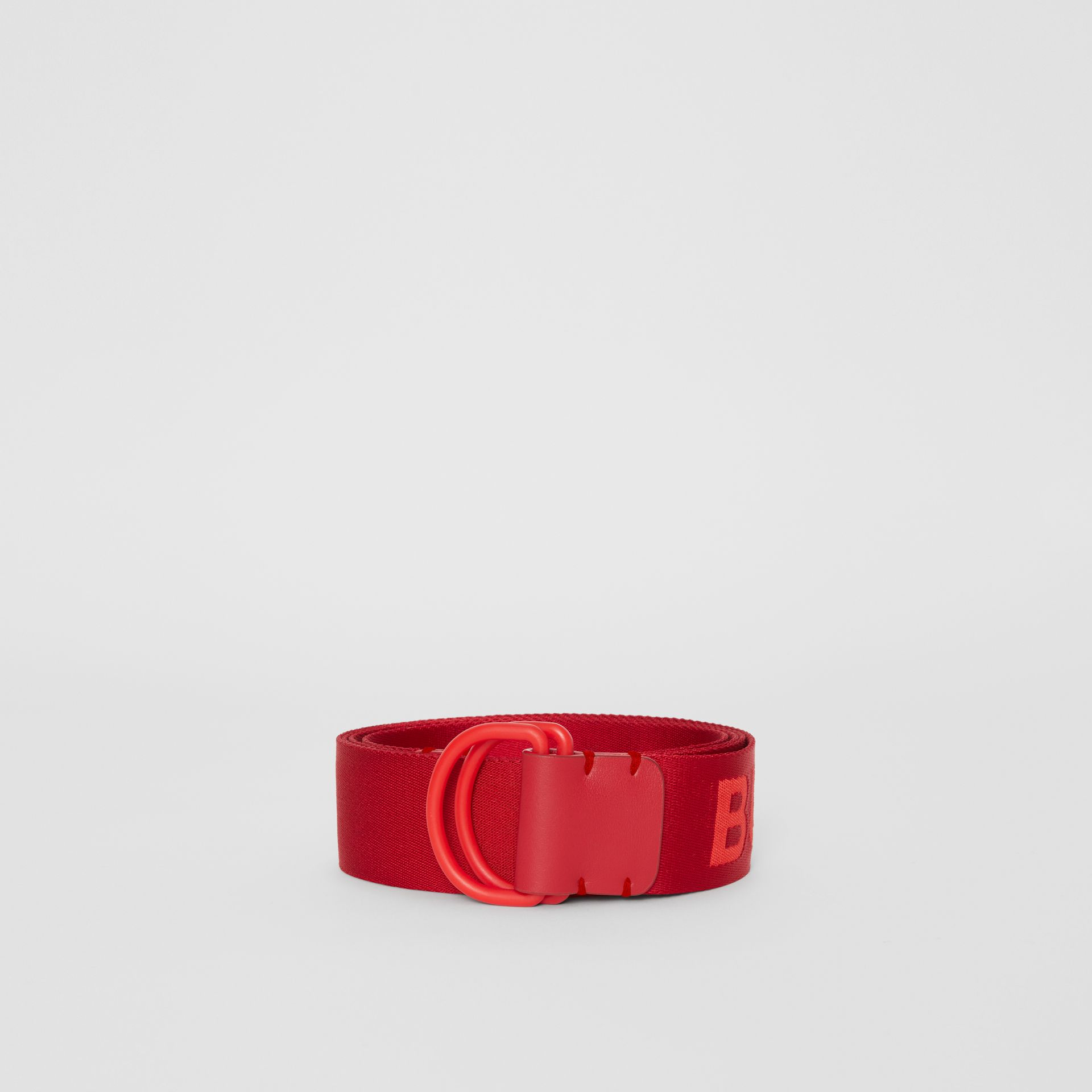 Logo Detail Double D-ring Belt in Bright Red - Men | Burberry Australia - gallery image 3