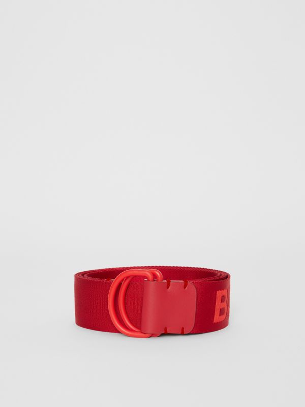 Logo Detail Double D-ring Belt in Bright Red - Men | Burberry Australia - cell image 3