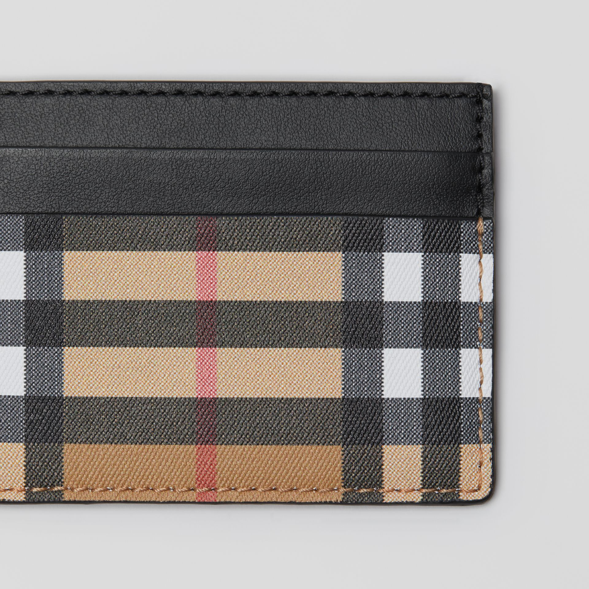 Vintage Check Leather Card Case in Black | Burberry - gallery image 1