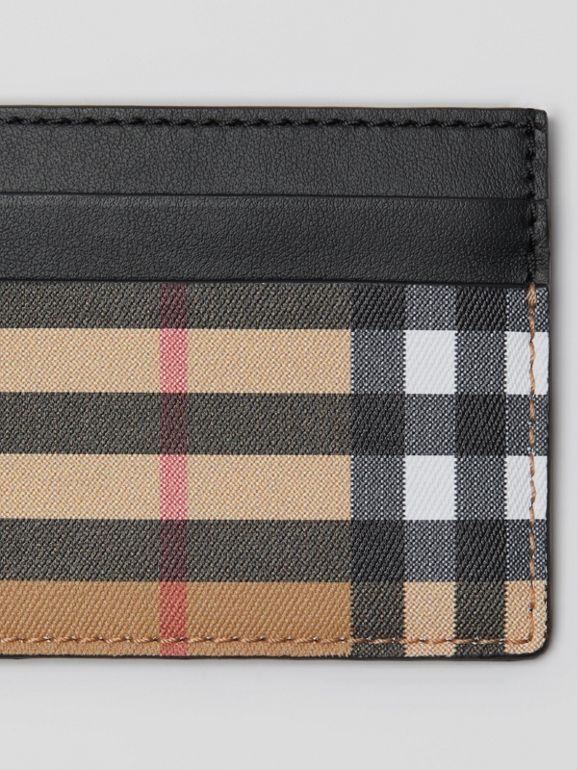 Vintage Check Leather Card Case in Black | Burberry Australia - cell image 1