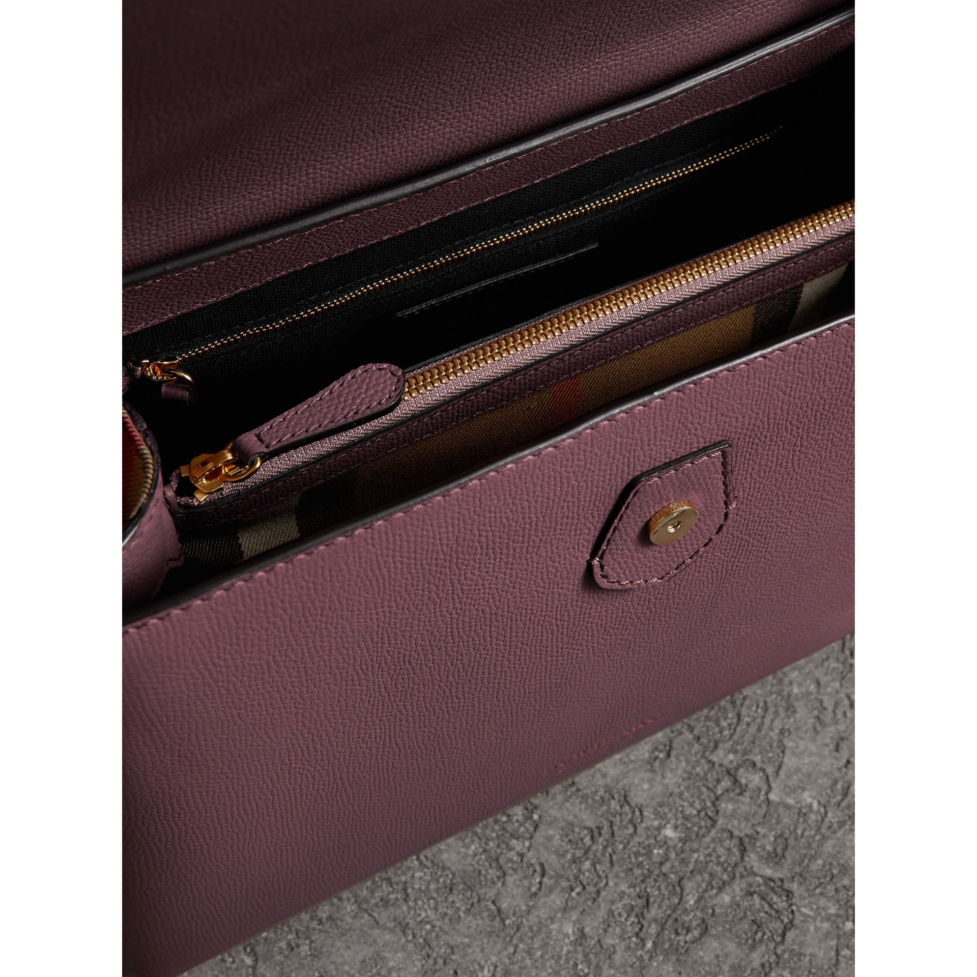 Medium Grainy Leather and House Check Tote Bag in Mahogany Red - Women | Burberry United States - gallery image 5