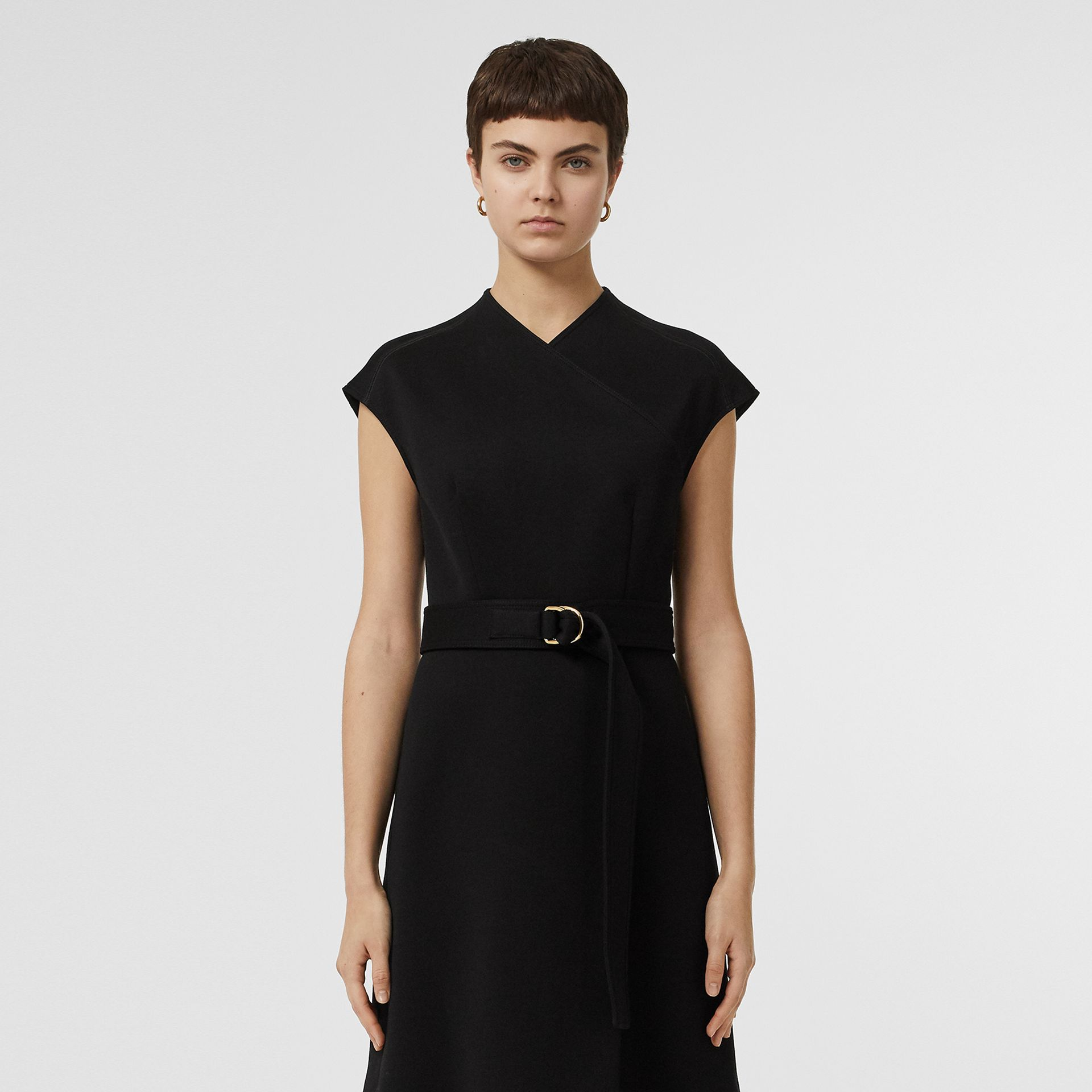 D-ring Detail Bonded Jersey Dress in Black - Women | Burberry - gallery image 6