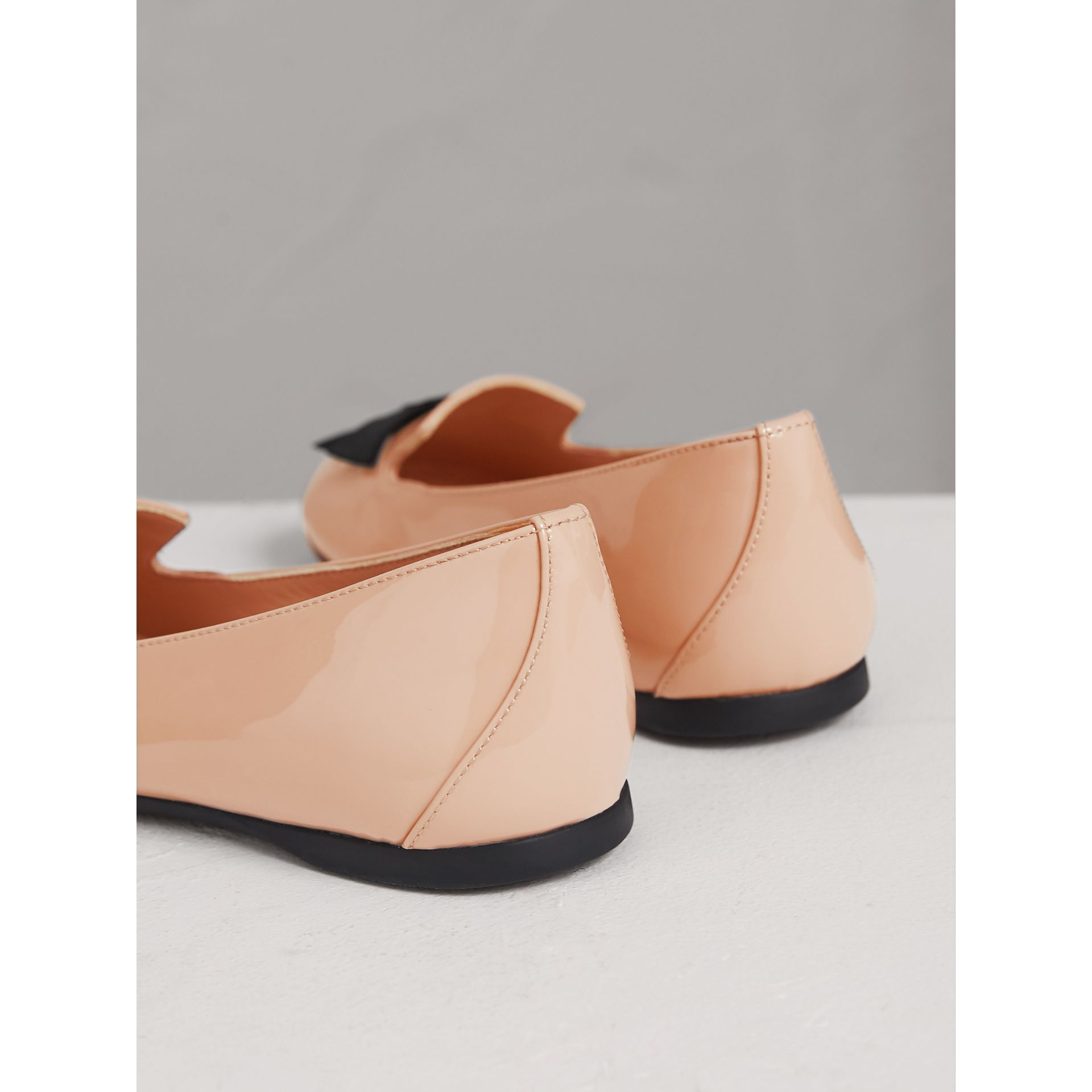 Bow Detail Patent Leather Ballerinas in Apricot Pink | Burberry - gallery image 2