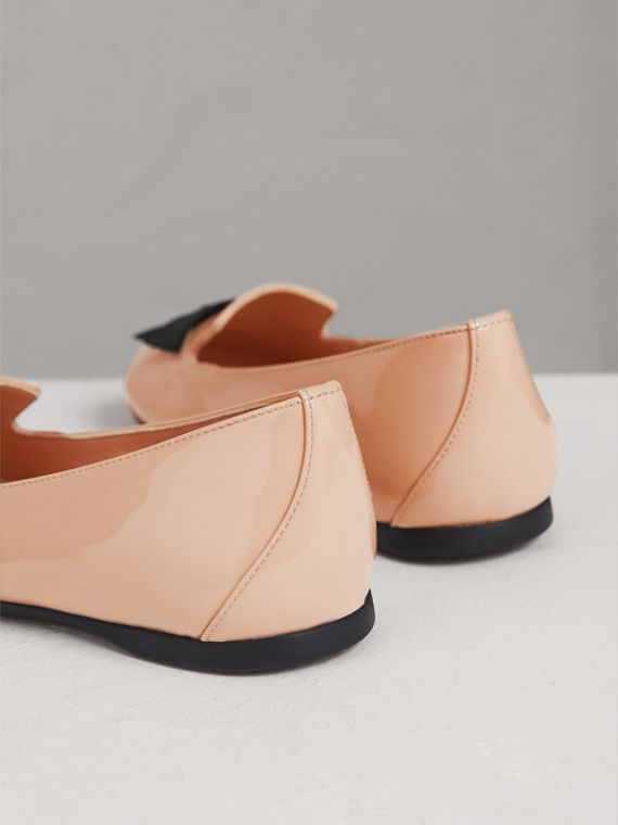 Bow Detail Patent Leather Ballerinas in Apricot Pink - Girl | Burberry - cell image 2